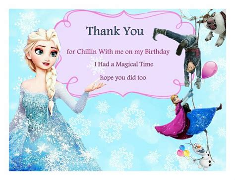 Frozen Thank You Card Template by Free Frozen Birthday Thank You Cards Frozen