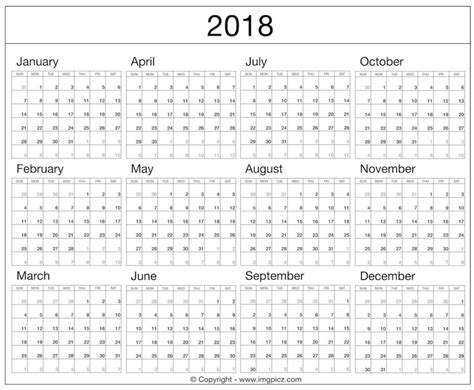 printable calendar 2018 year to view 2018 calendar full year free download happy new year