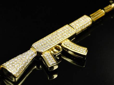 Yellow Gold Sterling Silver Lab Simulated Diamond AK 47