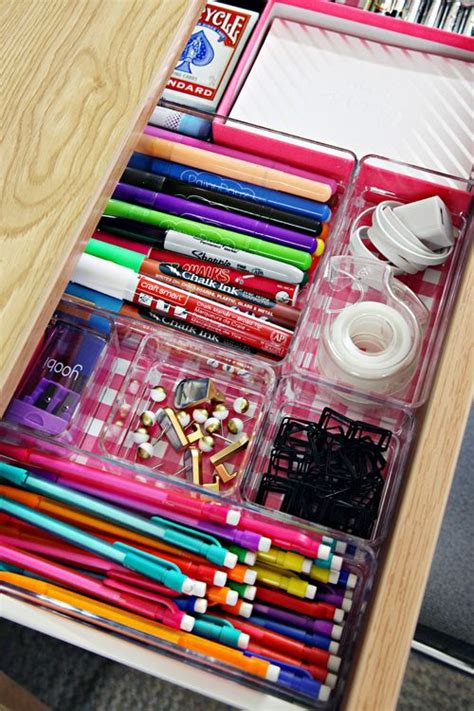 Line Your Desk Drawers With Scrapbook Paper And Add Clear How To Keep Your Desk Organized
