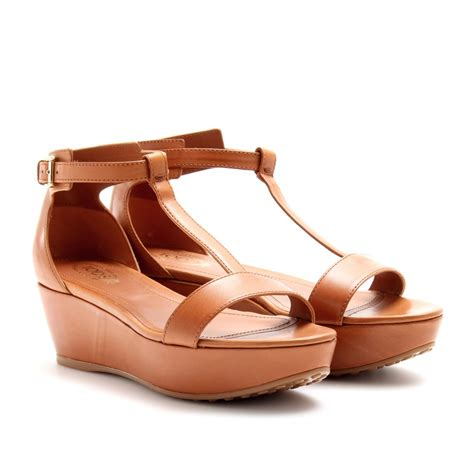 Leather Wedges tod s leather wedges in brown lyst