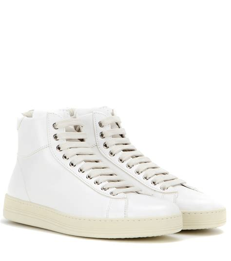 tom ford leather high top sneakers in white lyst