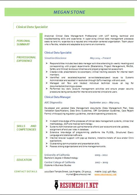 clinical data management resume sle 28 data specialist resume clinical data specialist