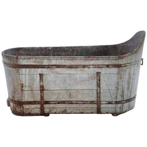 antique bathtub for sale antique french wood plank tub with metal strap as planter
