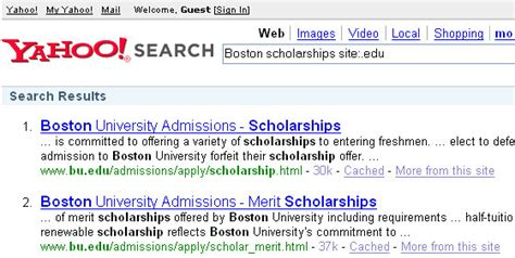 Yahoo Advanced Search Use To Find Scholarship And Grant College Funding
