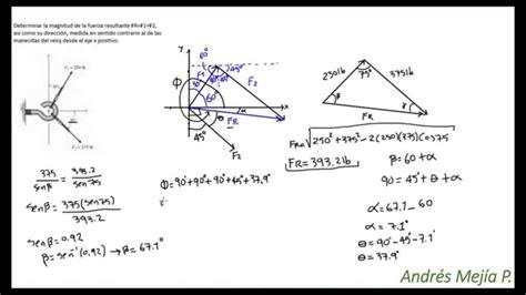 ley de cosenos vectores est 225 tica ejercicio 1 suma de vectores ley del