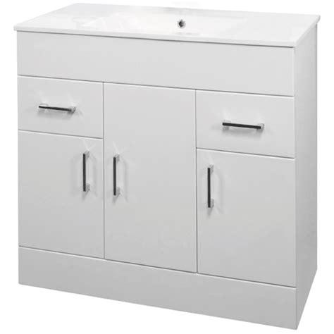 Vanity Unit 900mm by 900mm Minimalist High Gloss White Vanity Unit With Ceramic