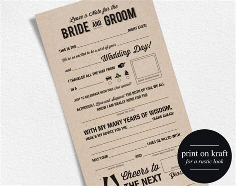 Wedding Advice by Wedding Advice Card Mad Libs Wedding Printable Marriage