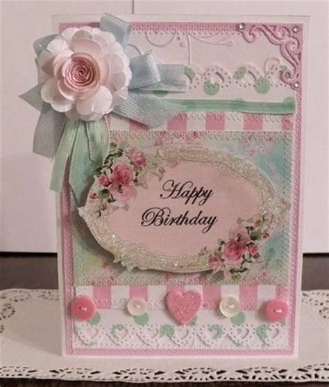 sewn greeting card templates shabby chic handmade quot happy birthday quot 2 card sewn and