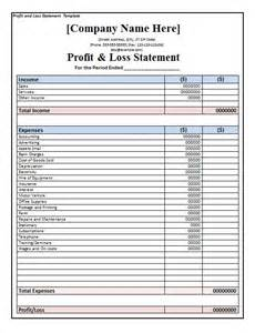 Profit And Loss Template by 35 Profit And Loss Statement Templates Forms