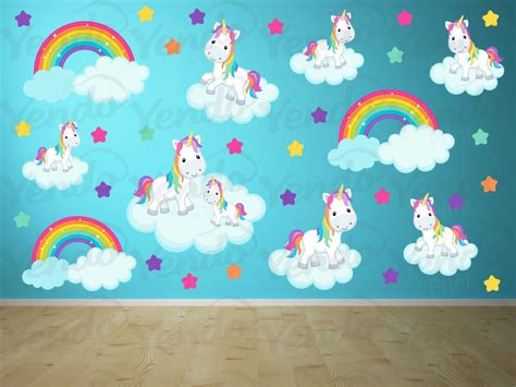 Wall Stickers For Rooms girls wall decals rainbows and unicorns unicorn decals