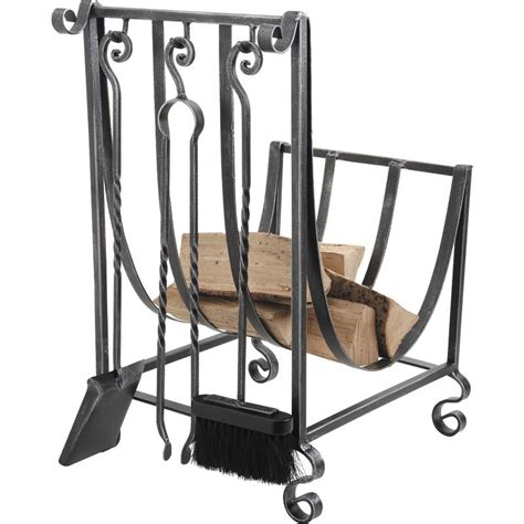 wrought iron log holder with 3 fireplace tools gch160s