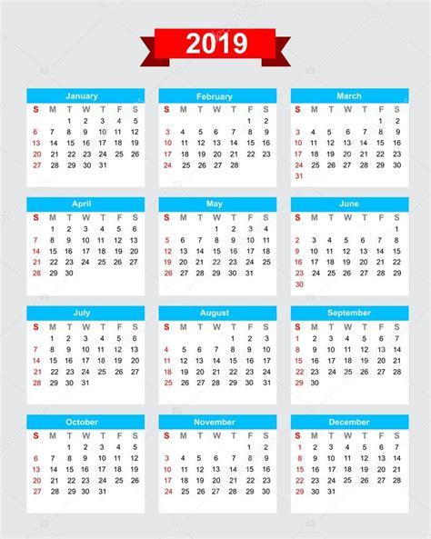 Calendario 2019 Con Festivos Semana Calendario 2019 Comienzo El Domingo Archivo