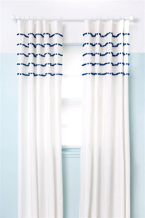 curtains with pom poms pleated pom pom curtains a beautiful mess