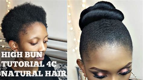 step by step picture styling short natural hair how to high bun on twa short 4c natural hair youtube