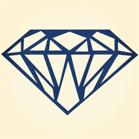 diamond tattoo logo diamond in thick blue outline shine bright like a