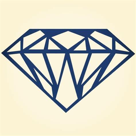 diamond tattoo vector diamond in thick blue outline shine bright like a