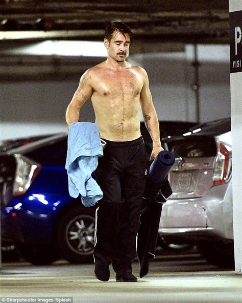 elon musk yoga colin farrell shirtless to reveal his muscular body as he