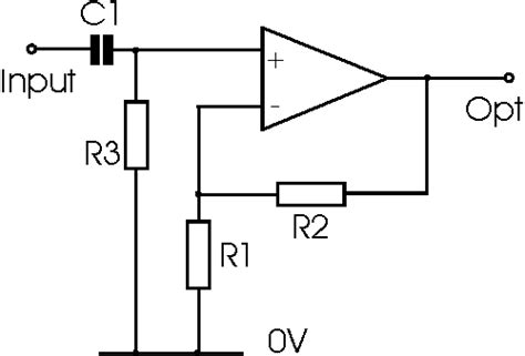 high input impedance capacitor coupled voltage follower non inverting operational lifier circuit