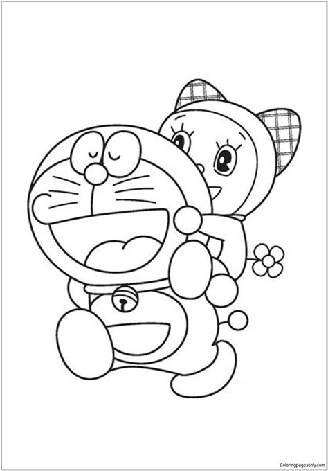 Doraemon and Dorami Coloring Page - Free Coloring Pages Online