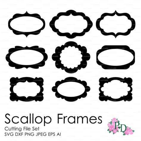 cornici illustrator scallop frames set of 9 cutting file svg dxf ai eps png