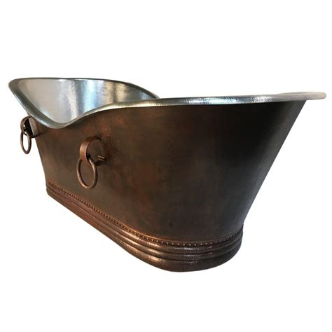nickel plated copper custom 84 hammered copper bathtub with rings and nickel
