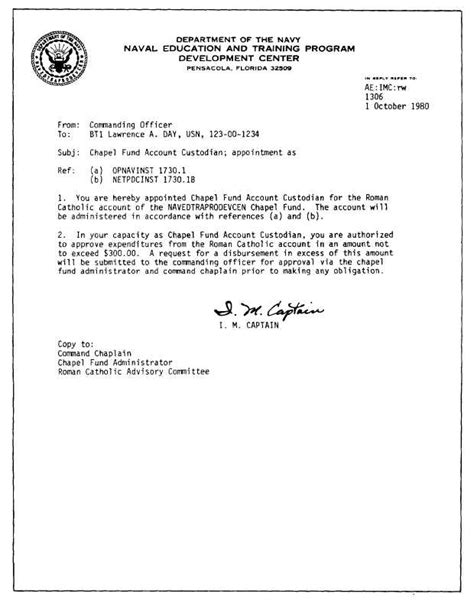 Letter Of Appointment Usna Sle Letter Of Appointment For A Chapel Fund Account Custodian Catholic