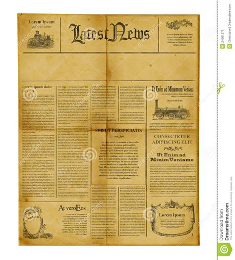 antique newspaper template stock image image 24901371