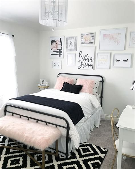 black and white teenage bedroom black and blush pink girls room decor great teenager