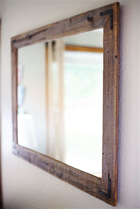 reclaimed wood framed mirror rustic bathroom mirrors