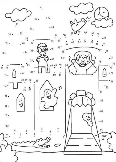 printable dot to dot house haunted house game coloring pages hellokids com