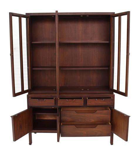 mid century modern fluted doors walnut china cabinet hutch