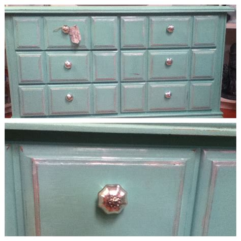 diy chalk painted turquoise dresser using calcium carbonate paint color from lowes quot juan