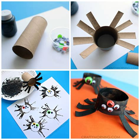 spider craft for two toilet paper roll spider crafts for crafty morning