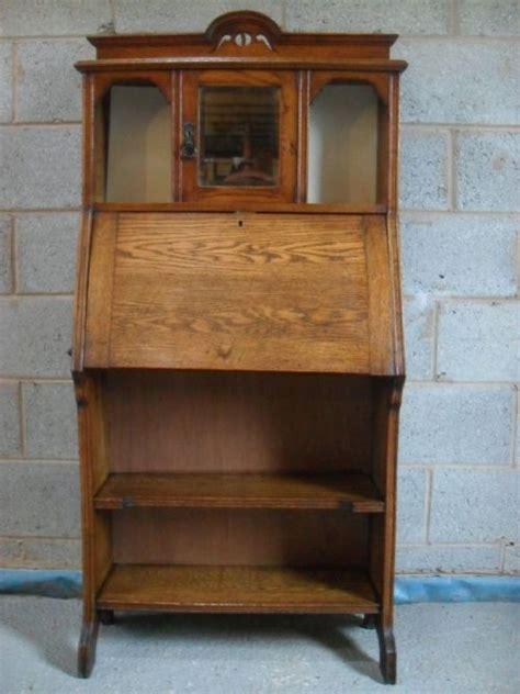 bookcase with mirror slim oak arts crafts bureau bookcase with bevel mirror