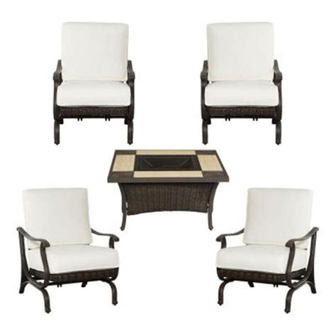 Home Depot Pit Set hton bay pembrey 5 patio pit chat set with custom cushion