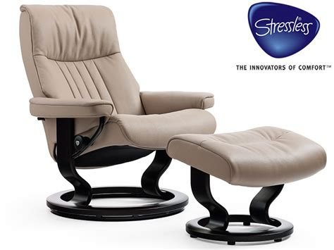 Buy Stressless Recliner by Stressless Large Crown Recliner And Stool In Batick