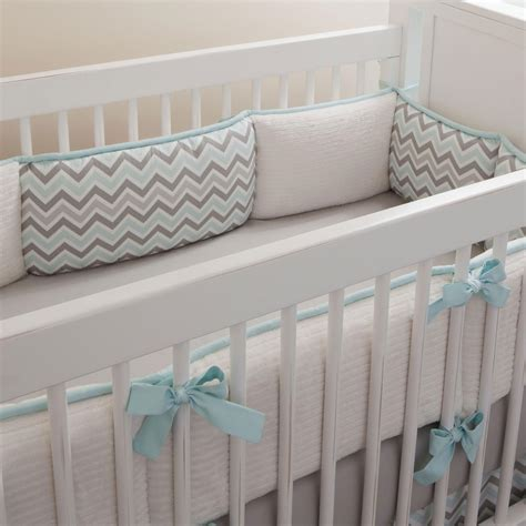 Mist And Gray Chevron Crib Bumper Carousel Designs Baby Bumpers For Crib