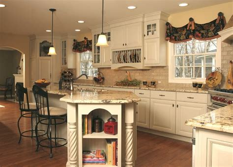 French Country Kitchen Backsplash french country kitchen with angled penninsula