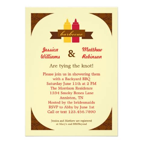 Bridal Shower Bbq Invitations by Bbq Couples Bridal Shower Invitation 5 Quot X 7 Quot Invitation