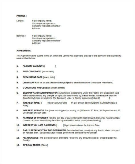 Loan Rehabilitation Agreement Letter Loan Agreement Form Template