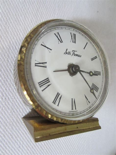 seth antique brass miniature desk clock for sale