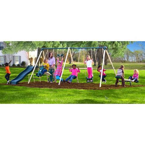 metal swing sets at walmart flexible flyer big adventure metal swing set