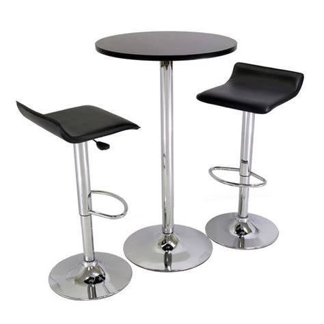 Airlift Stool With Chrome Finish by Pub Table Set Dining Set W 2 Airlift Stools In Black