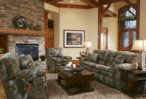 comfortable living room interior design with camouflage