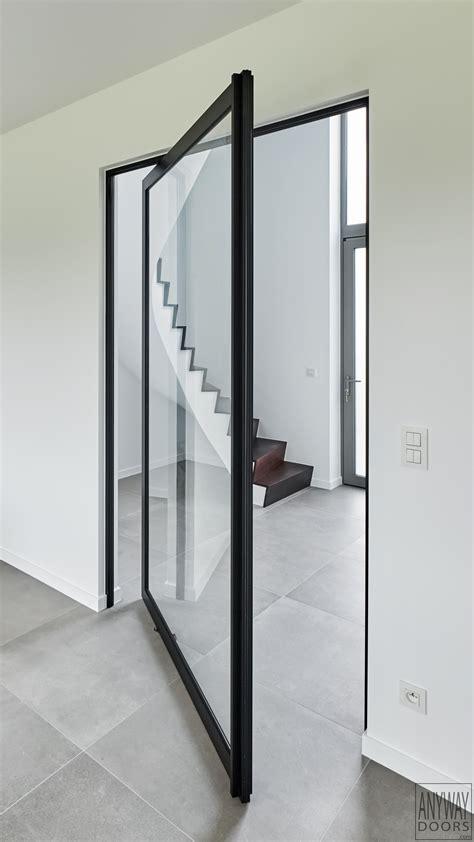 geã tztes glas doors glass pivoting door with black anodized aluminium