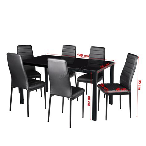 6 Chair Glass Dining Table Set Foxhunter Glass Dining Table With 4 6 Chairs Set Faux Leather Dining Room Black Ebay