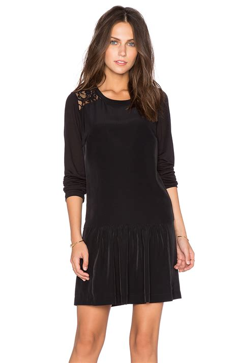 Mini Dress Import 2 maison scotch lace sleeve mini dress in black lyst