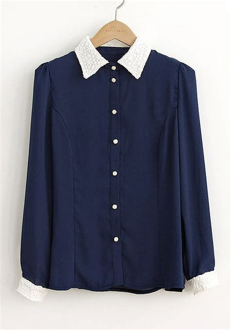 Blouse Navy navy blue blouse with collar silk blouses