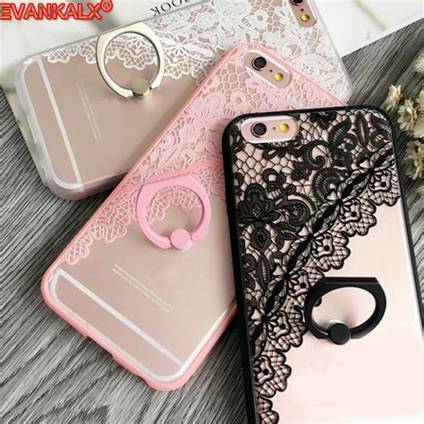 Softcase Flower Ring Stand For Iphone 7 ring holder phone for iphone 7 6s 6 plus fashion lace flower leaf letter animal pattern